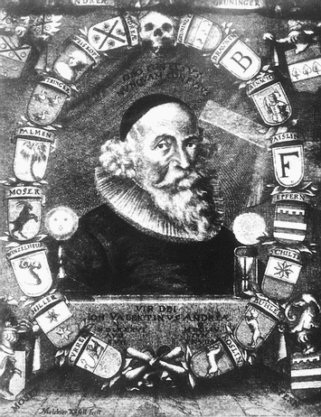 Portrait of Johann Valentin Andrea looking like an aged Francis Bacon. Note the two framed letters F and B separated by a shield with a court jester.