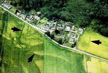 Aerial photograph of Fortingall village showing an apparent vallum or enclosure centred on the ancient yew tree.